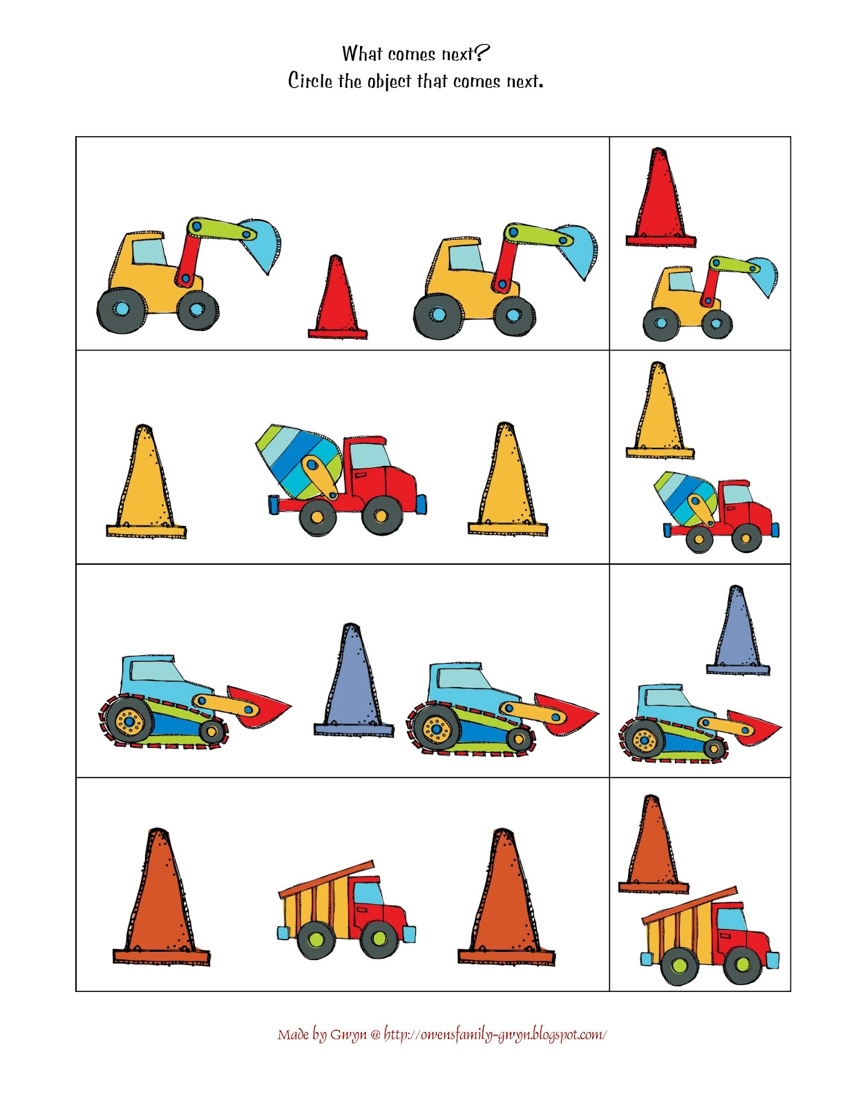 Preschool worksheets vehicles : Construction Preschool Printables