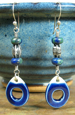 Libellula Jewelry:  Ceramic & sterling silver earrings