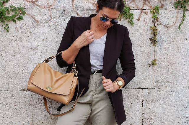Gucci belt, BCBGmaxazria blazer, Zara cropped pants, Joe Fresh T-shirt, Coach Legacy handbag and gold Aldo shoes.