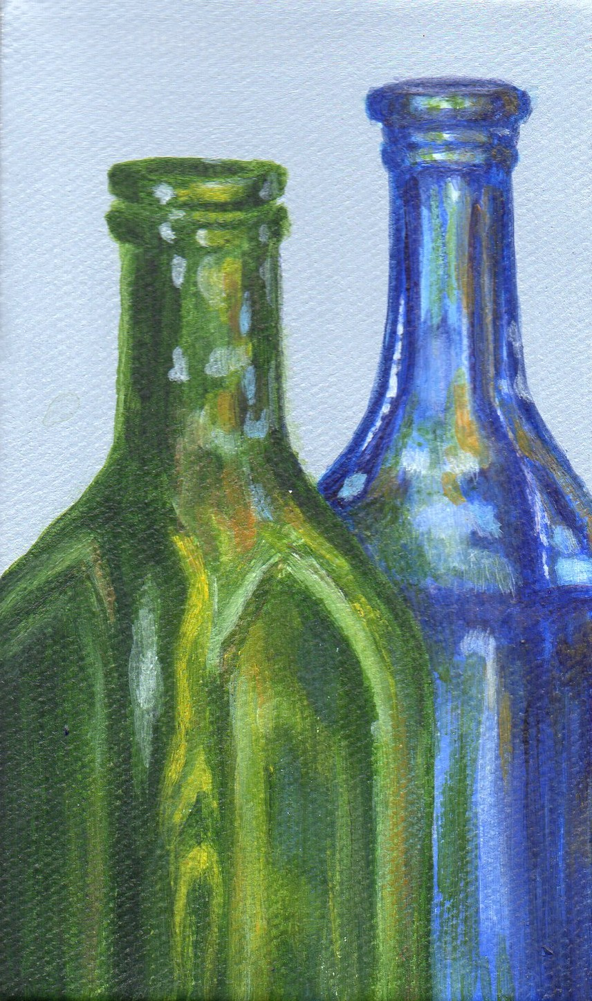 Debbie shirley art by the bottle small acrylic still for How to paint bottles with acrylic