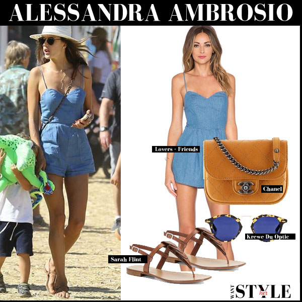 Alessandra Ambrosio in blue romper, leather sandals and brown Chanel bag september 6 streetstyle