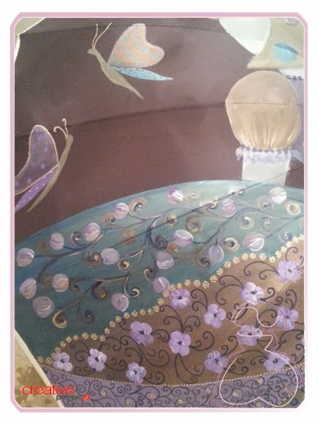 Paraguas pintado a mano con mariposas, realizado por Sylvia Lopez Morant
