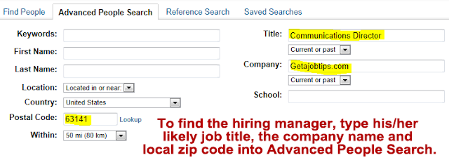LinkedIn advanced people search, find hiring manager on LinkedIn,