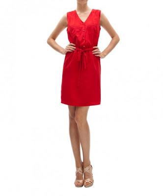 koton kırmızı kemerli elbise, düğmeli elbise, ofis elbisesi, iş elbisesi, günlük elbise
