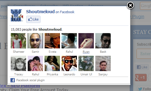 Fan Page y Boton Me Gusta de Facebook en PopUp