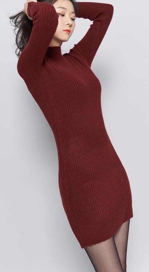 Ribbed Knit Mock Neck Dress
