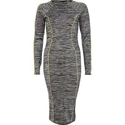 grey neon midi dress