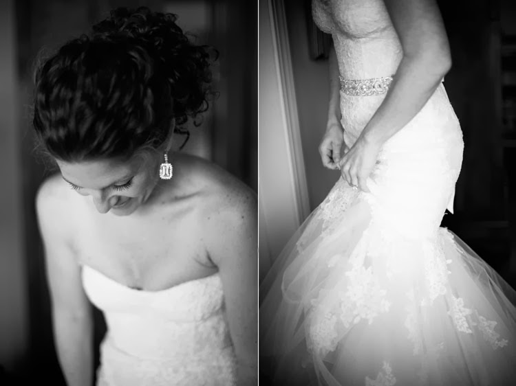 bride looking down at her Monique Lhuillier wedding dress with a beautiful shot of her earrings
