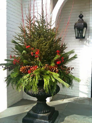 berries spruce pinecones Christmas planter  Designing Home