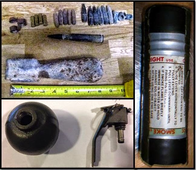 Spent Mortar & Rounds & Live .50 Caliber Round (SAT), Inert Grenade (DTW), Smoke Grenade (TUS)