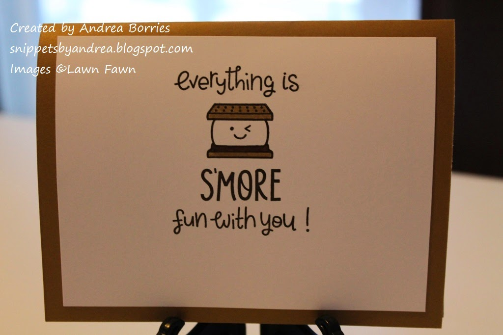 "Inside of card with the sentiment ""Everything is s'more fun with you"" and a stamped s'more image."