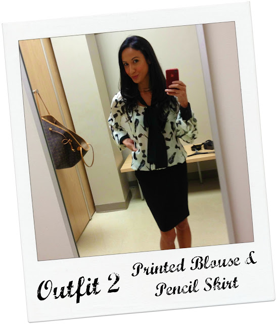 Mommy Testers Sears #styleSurprise Kardashian Kollection printed top and pencil skirt