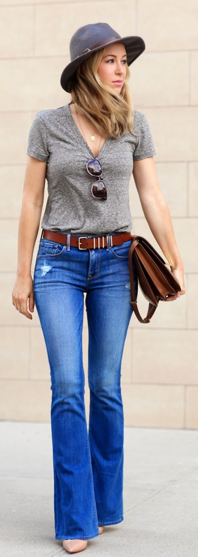 Flare Ripped Jeans with Grey V-Neck Tee | Chic Street Outfits