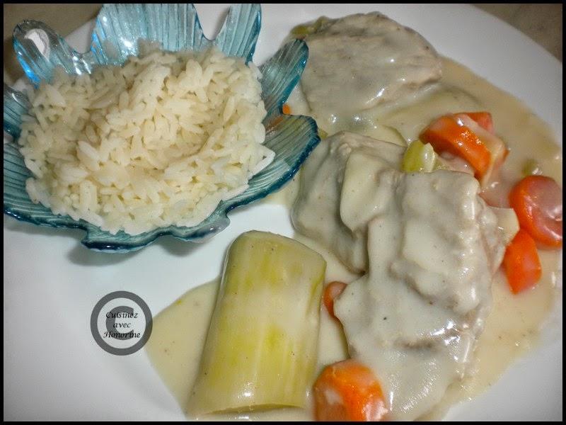 Blanquette de veau, accompagné de riz