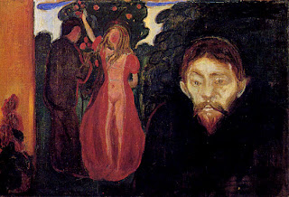 Jealousy (1895), one of the early paintings in the Frieze of Life, Jealousy combines the themes of passion and jealousy with the biblical allegory of temptation. The isolated foreground figure has the features of the artist's Polish friend Stanislaw Przybyszewski, while the seductress in the background is portrayed as Eve, the temptress, picking the fateful apple.