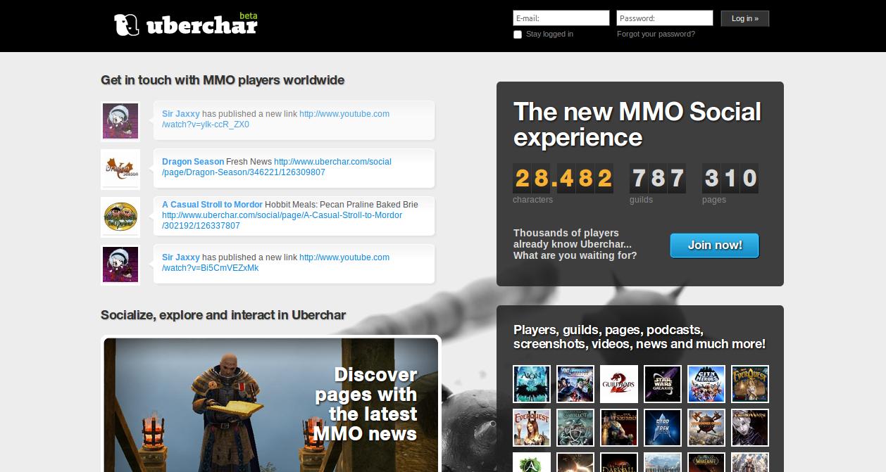 Uberchar MMORPG Social Networking site