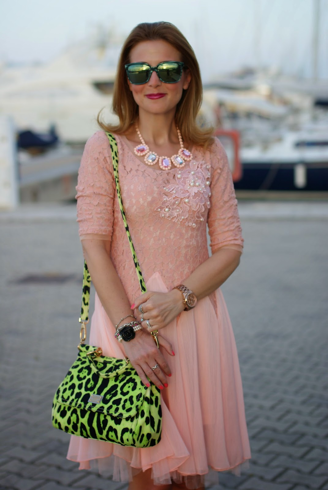 cichic ballerina dress, HYPE GLASS,  pink dress, Miss Sicily green bag, Fashion and Cookies, fashion blogger