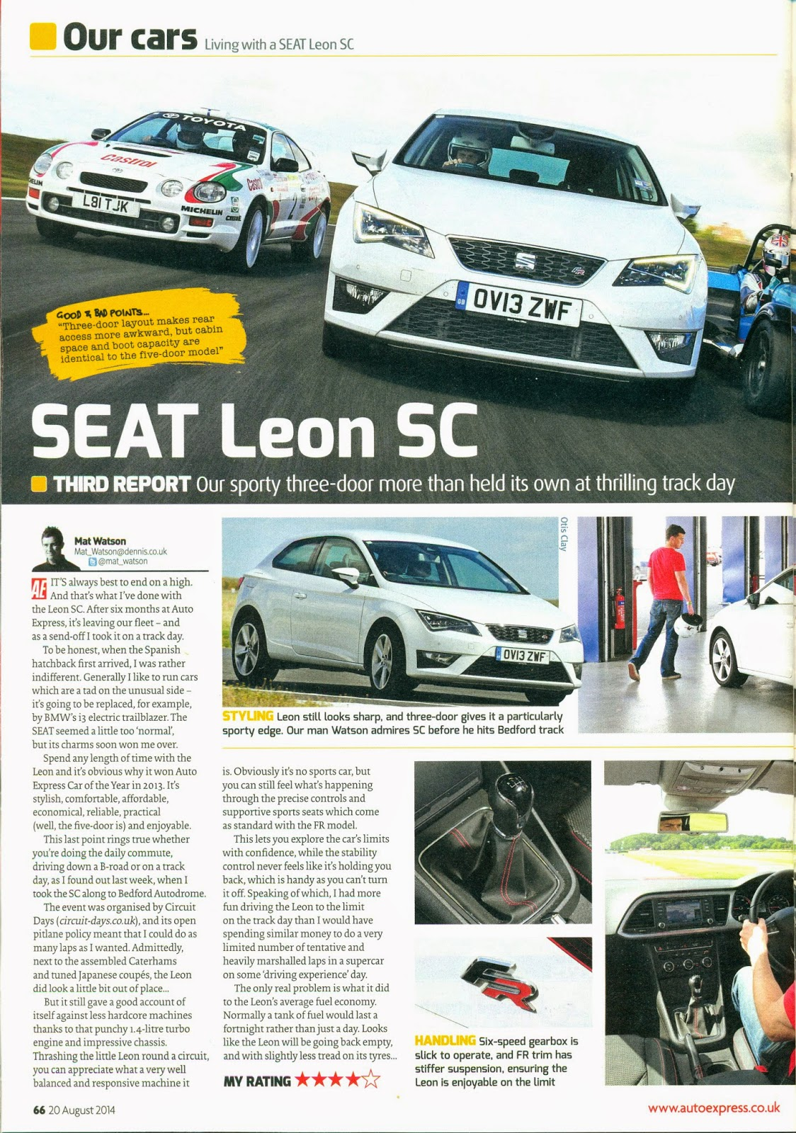 Seat Leon SC report in Auto Express magazine page 66 with my Caterham R500 pictured.
