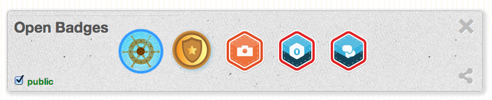 Sample open badges displayed