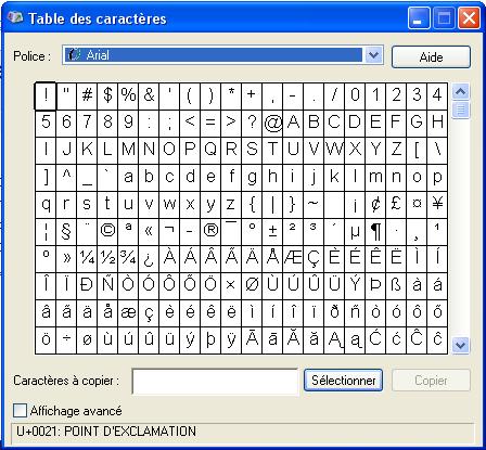 Comment ins rer un symbole sur un document sous windows xp filtrenet - Table des caracteres windows ...