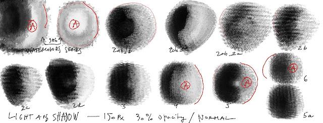 Testes para transformar pinceis texturizados com manchas irregulares em pinceis redondo.