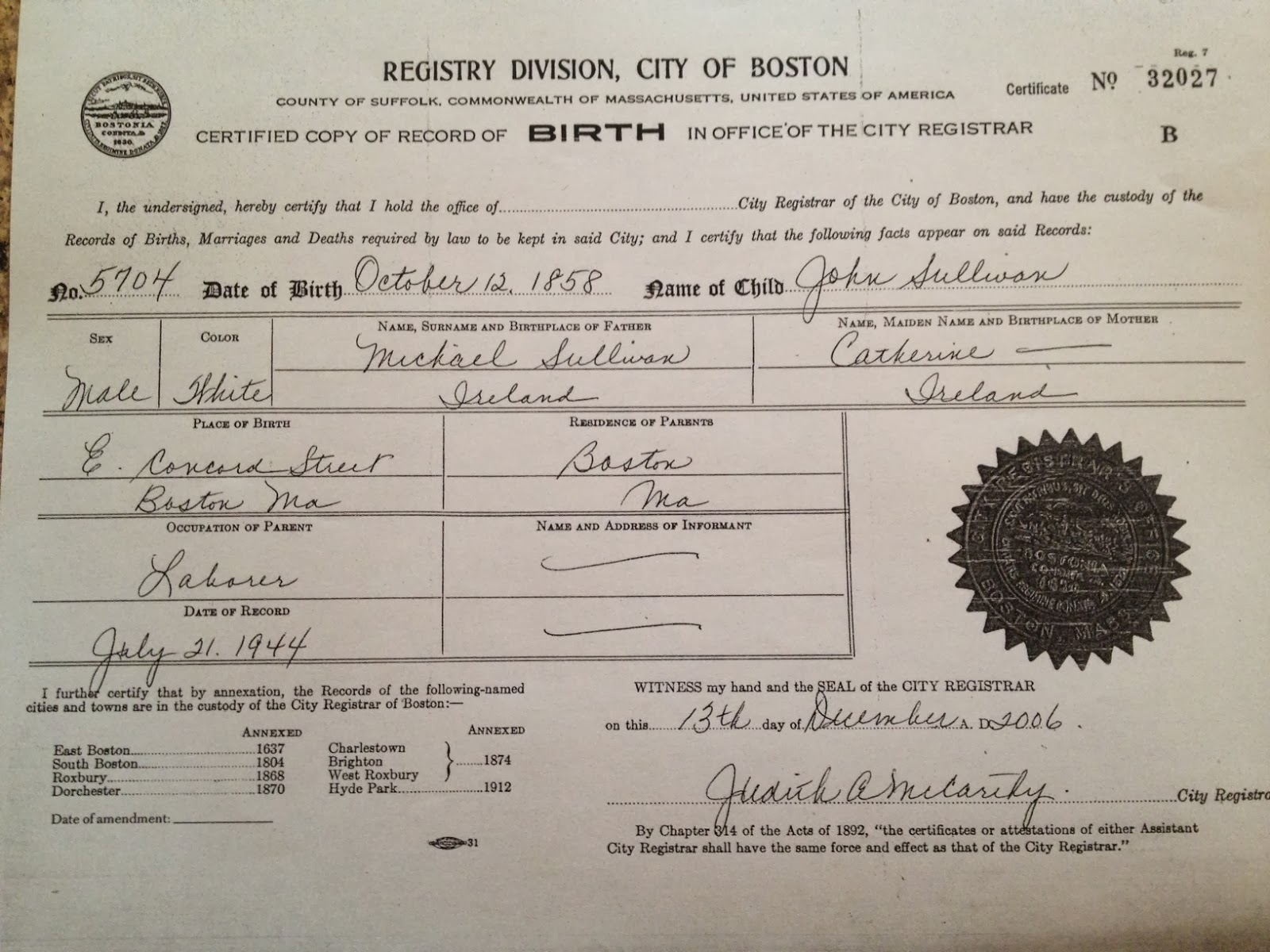 The strong boy blog october 2013 city records from the 1800s were susceptible to errors sullivans death certificate for instance listed his incorrect age when he passed away aiddatafo Gallery