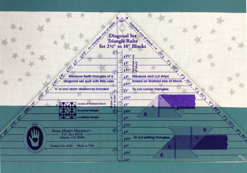 Diagonal Set Triangle Quilt Ruler 5 Inches to 16 Inches from Marti Michell