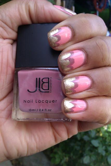 Pink, gold, mauve, scallop tip, cloud tip, nail art, design, mani