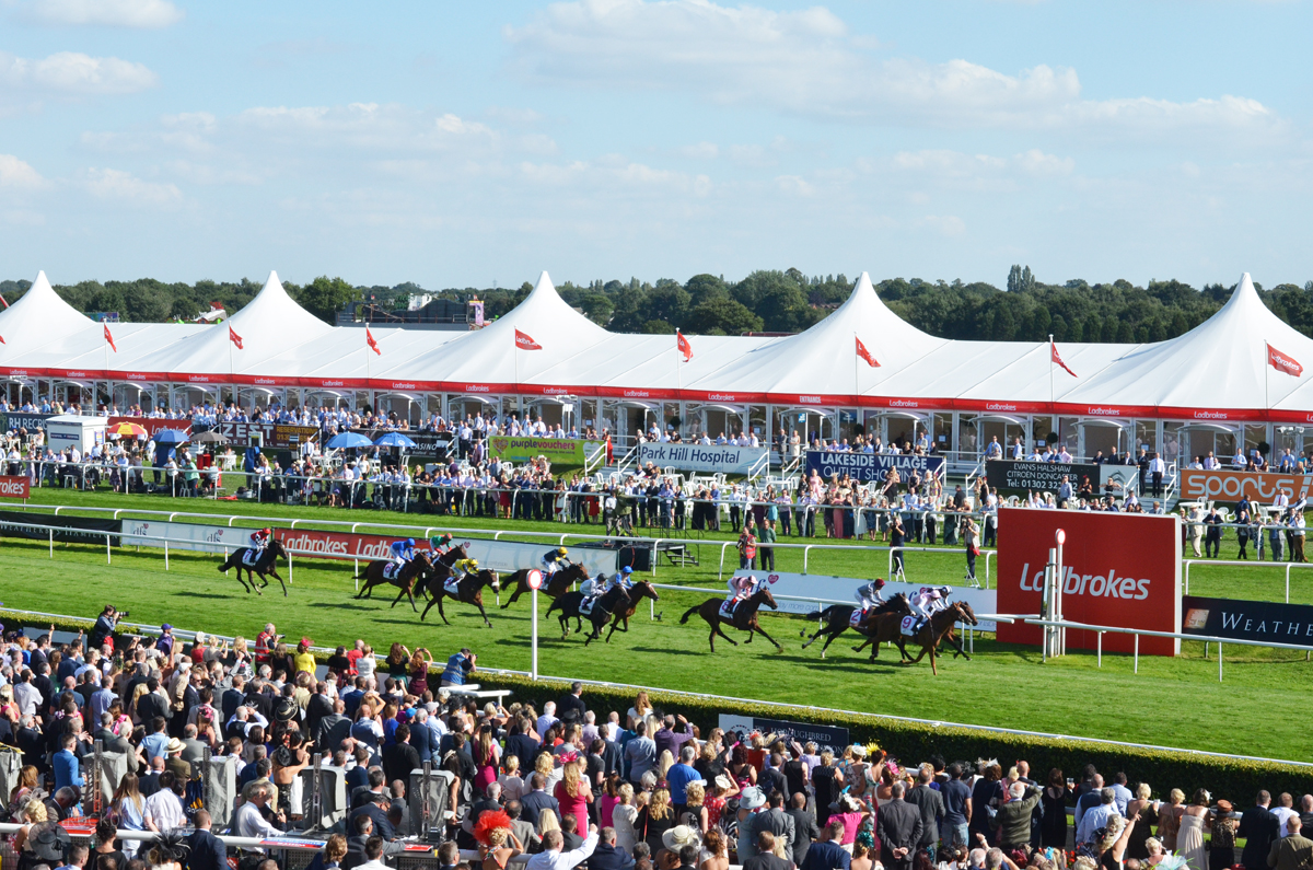 The Finish line at Ladbrokes Ladies Day at the Races - Doncaster