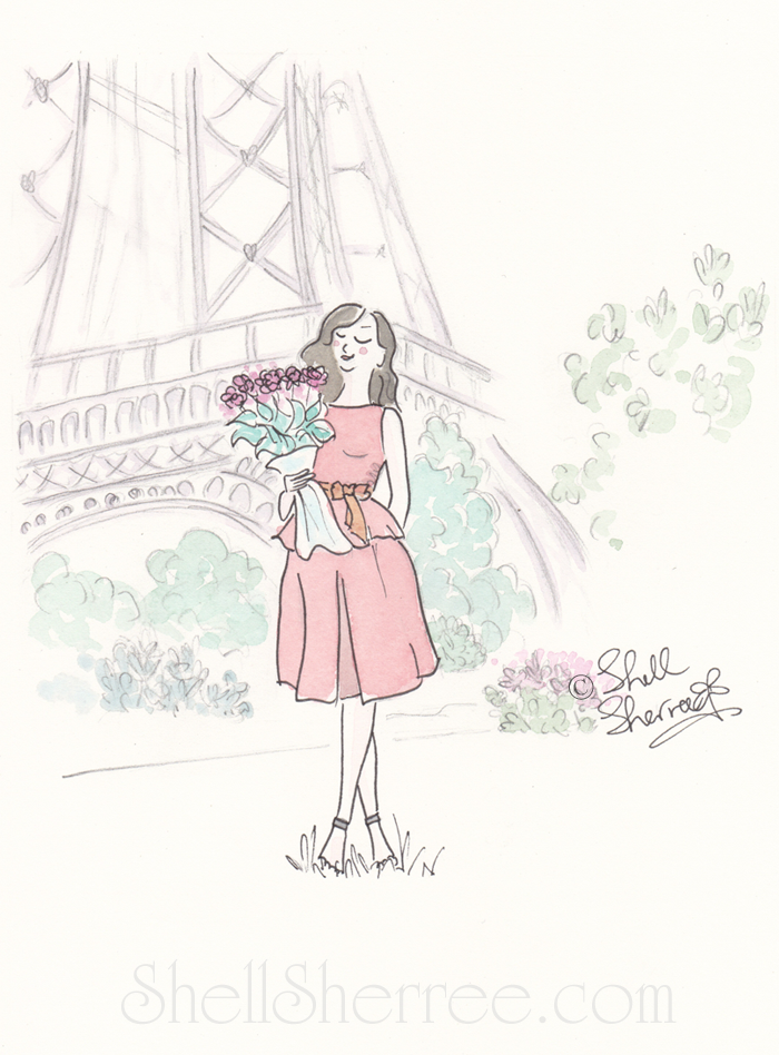 Floral Coral and Eiffel Tower, Shell Sherree, Paris illustration, fashion illustration