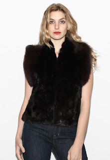 Vintage 1970's black mink and fox fur cropped gillet vest.