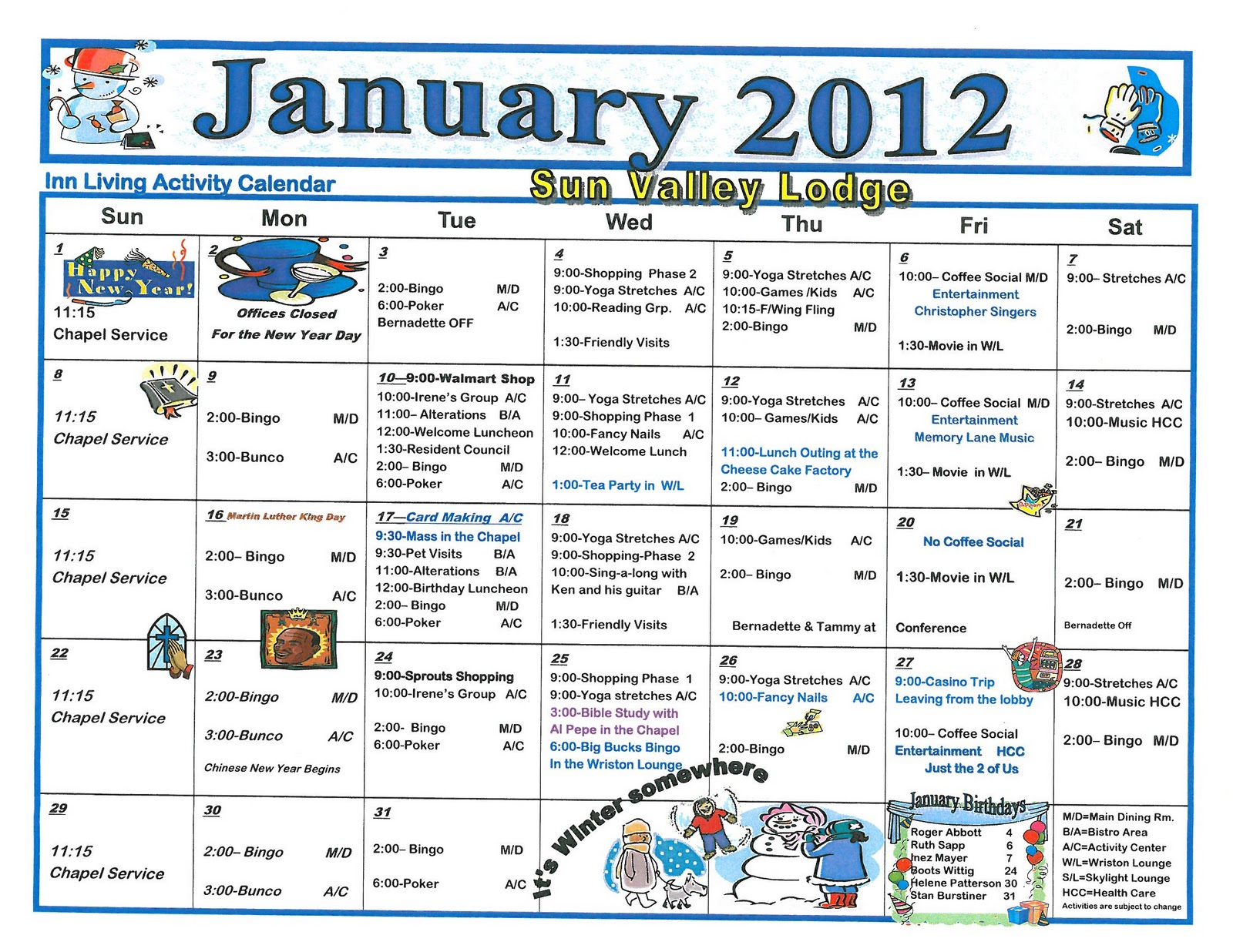 January 2012 assisted living activity calendar welcome for Assisted living activity calendar template