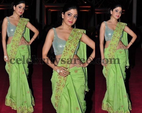 Poonam Kaur Parrot Green Saree