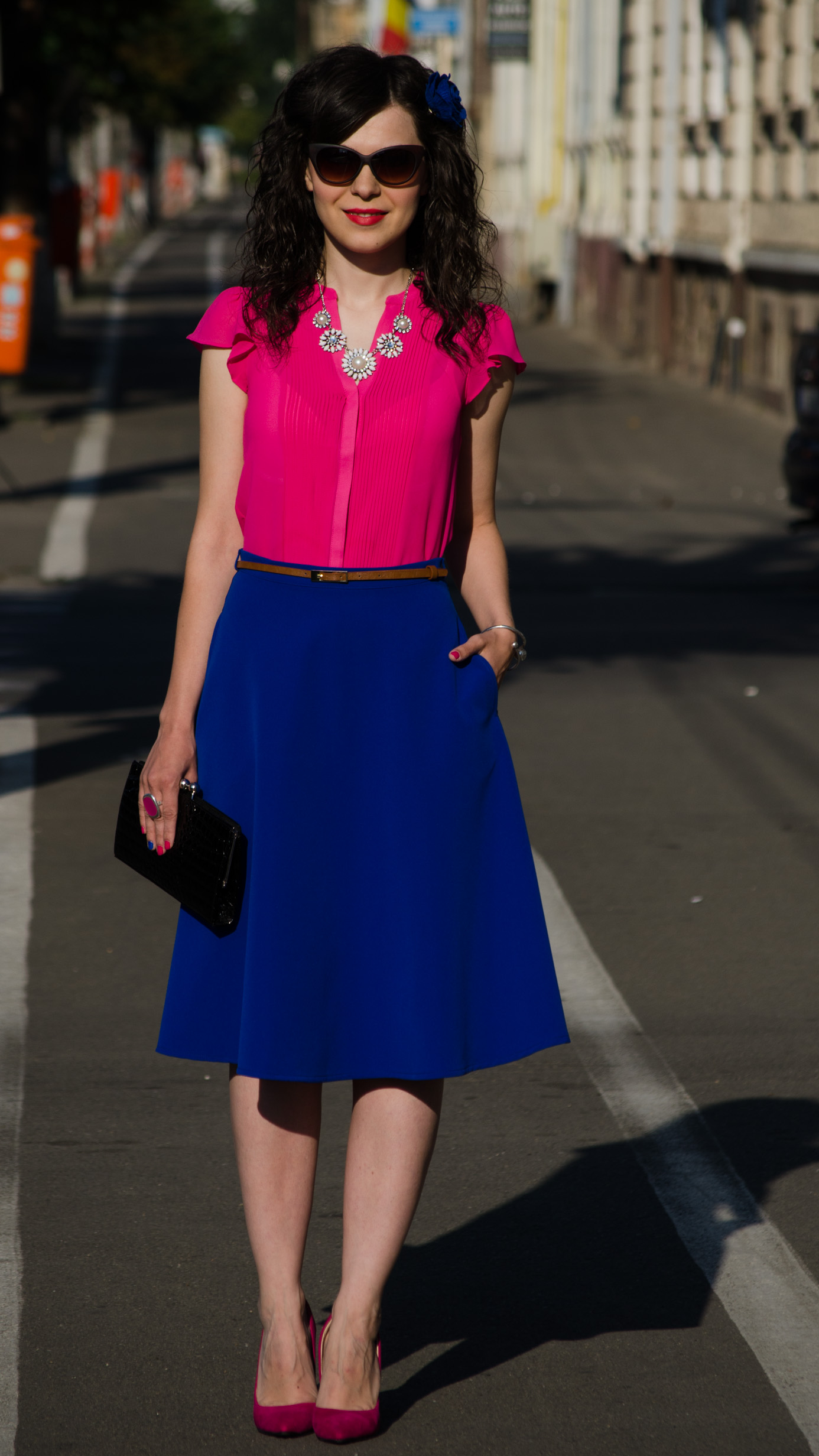 wedding attire cobalt blue skirt bright orchid shirt H&M fuchsia heels statement necklace