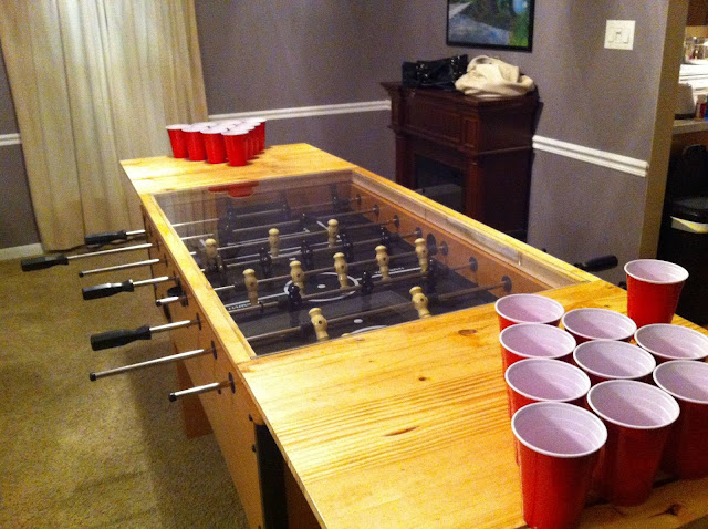 elegant bright brown wooden beer pong table ideas along with red plastic glass