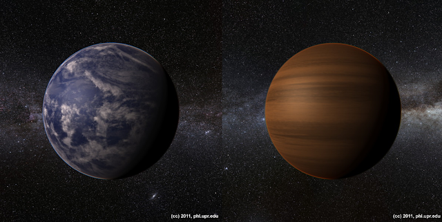 compisite artist's impressions of Kepler 22B as a watery world and as a gas giant