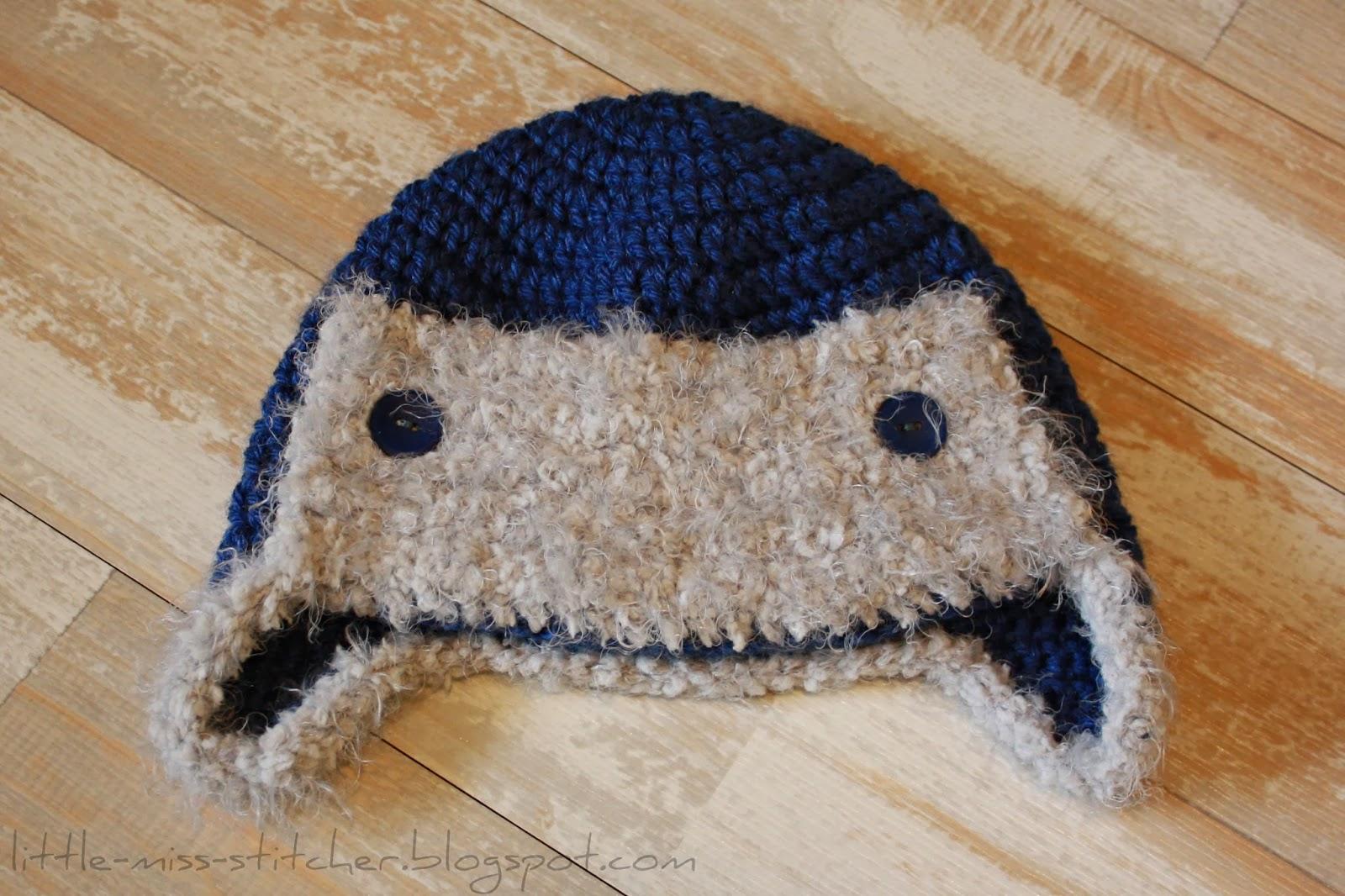 Infant Aviator Hat Crochet Pattern : Little Miss Stitcher: Crochet Toddler Aviator Hat