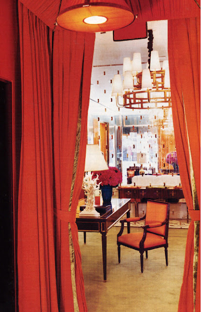 designer rooms, david mann, tory burch store, orange rooms