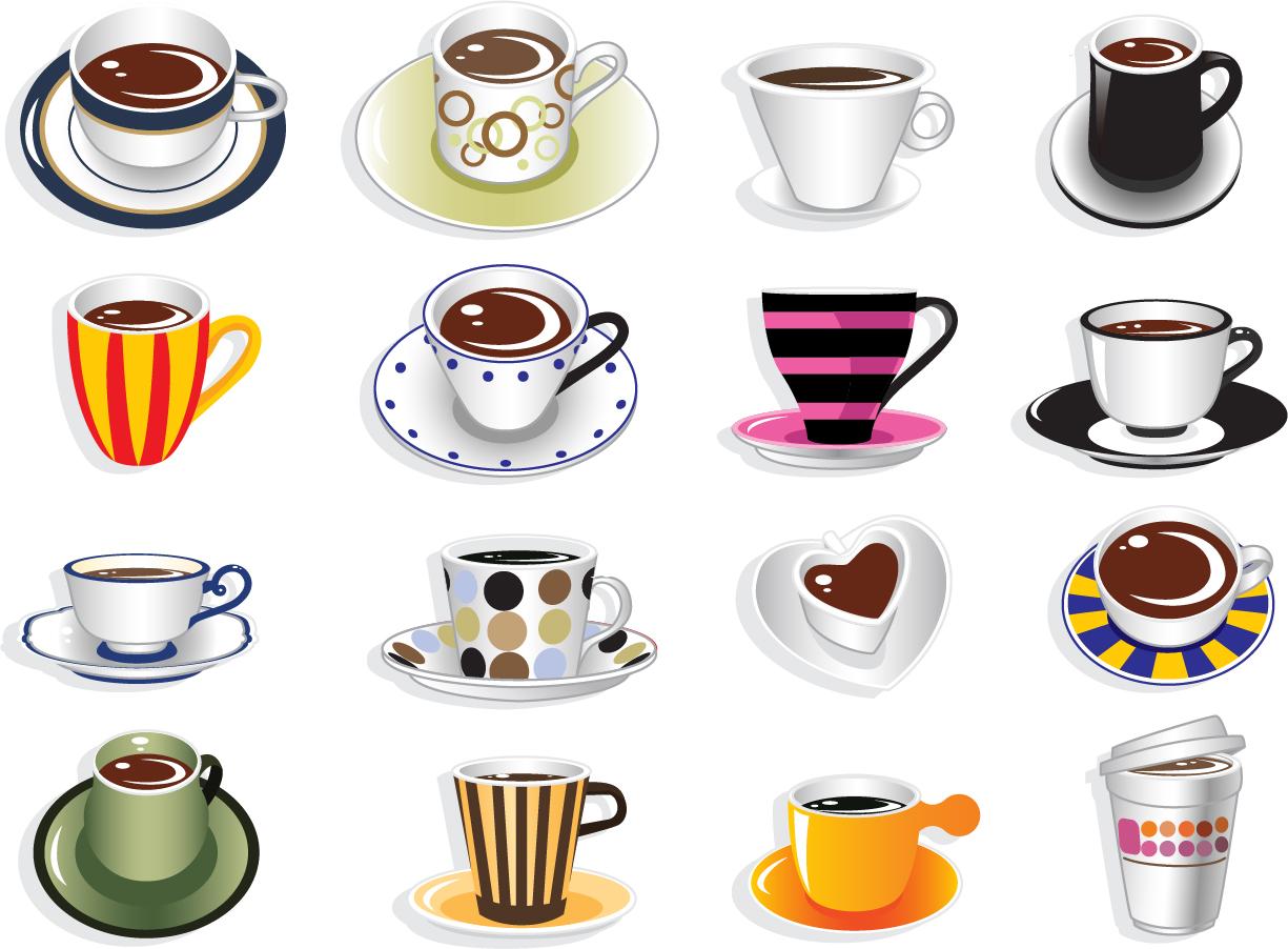 珈琲カップのクリップアート Coffee Cup Vector Set イラスト素材