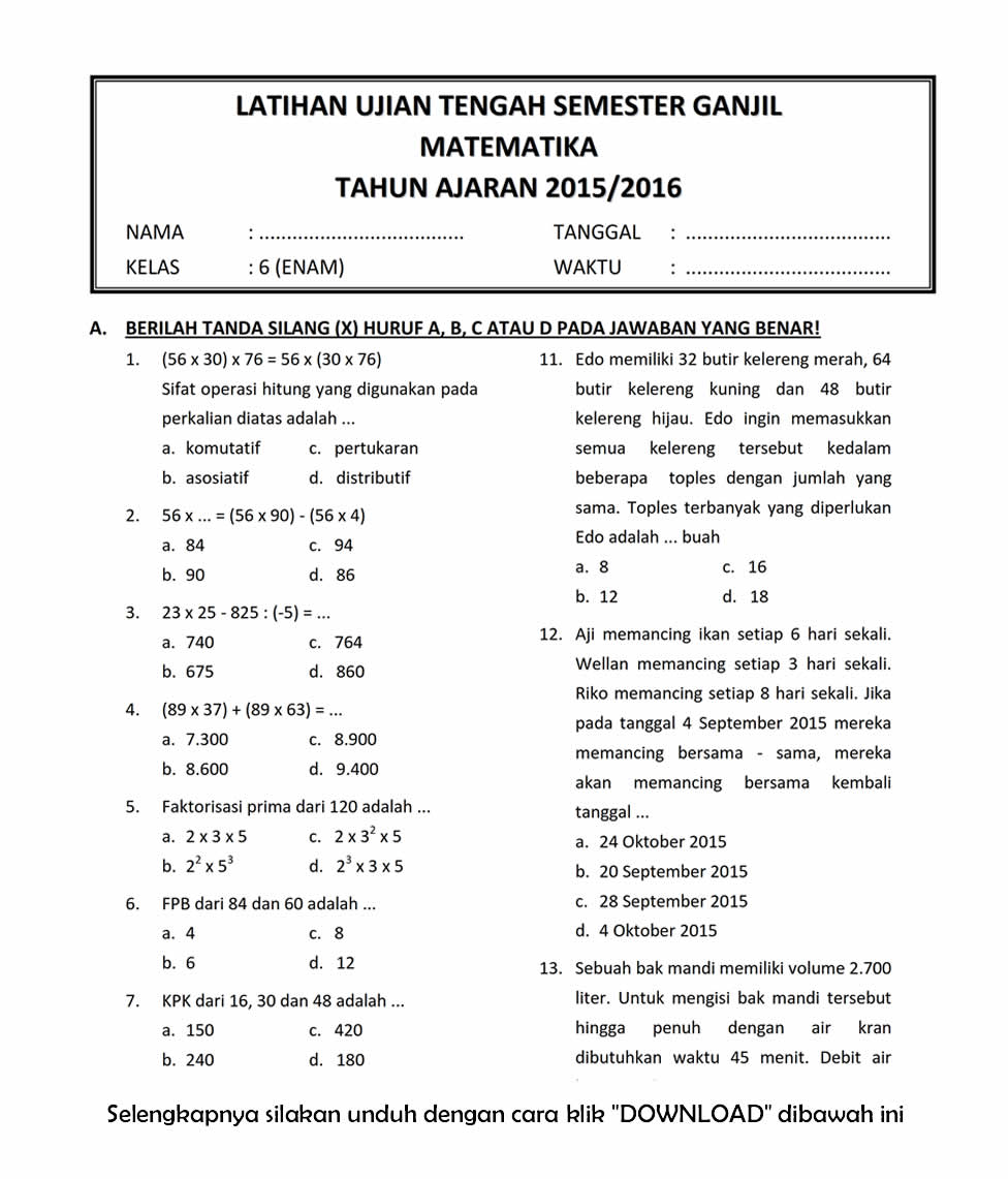 Download Soal Uts Ganjil Matematika Kelas 6 Sd Semester 1 Tahun Ajaran 2015 2016 Rief Awa