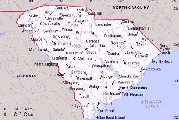 South Carolina map with cities counties Map of USA States