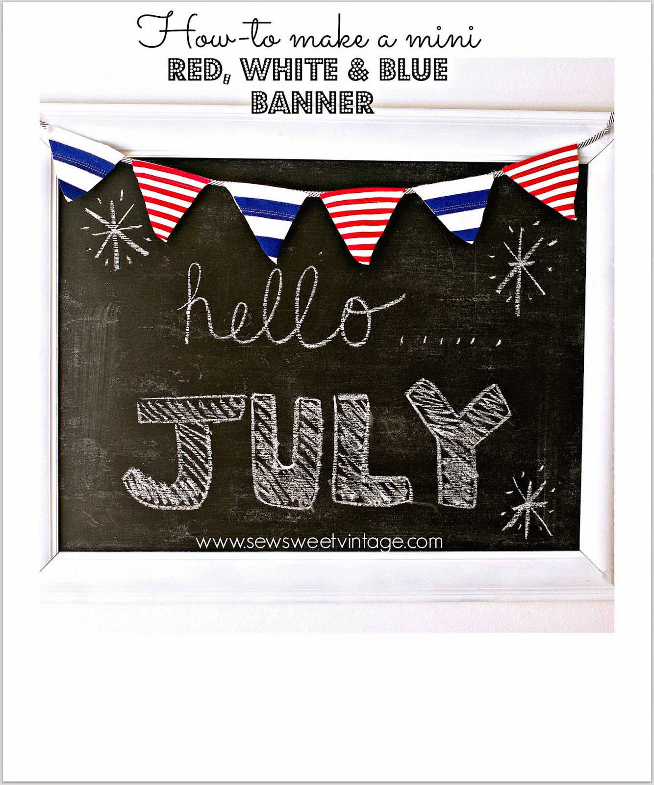 how-to make a nautical, patriotic, mini banner using recycled fabric