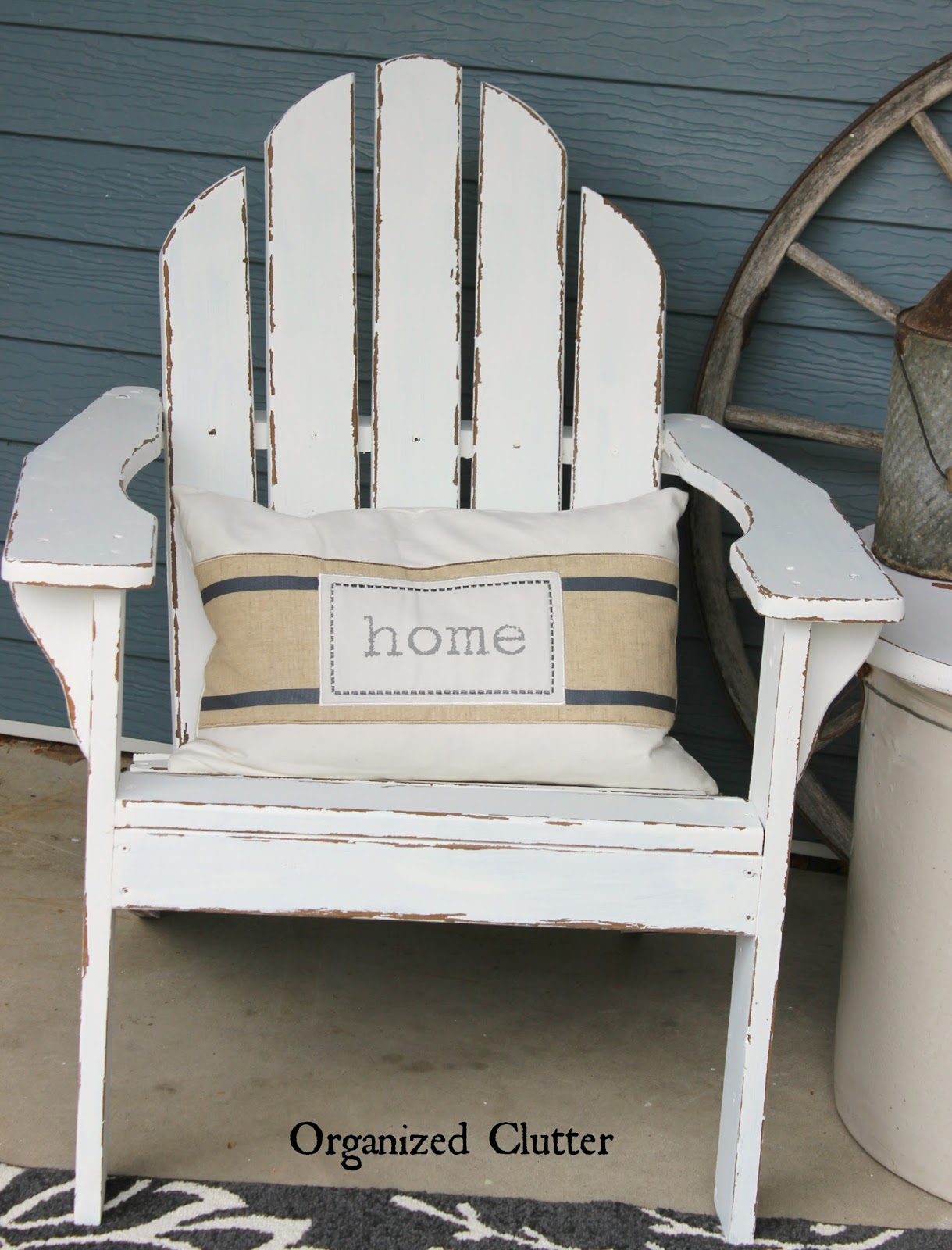 Simple Here is my covered patio from The Adirondack chairs had an exterior stain burlap covered cushions and sat atop a floral rug Because of my terracotta
