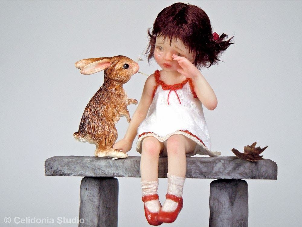 OOAK Art Doll, Girl with her Rabbit Friend