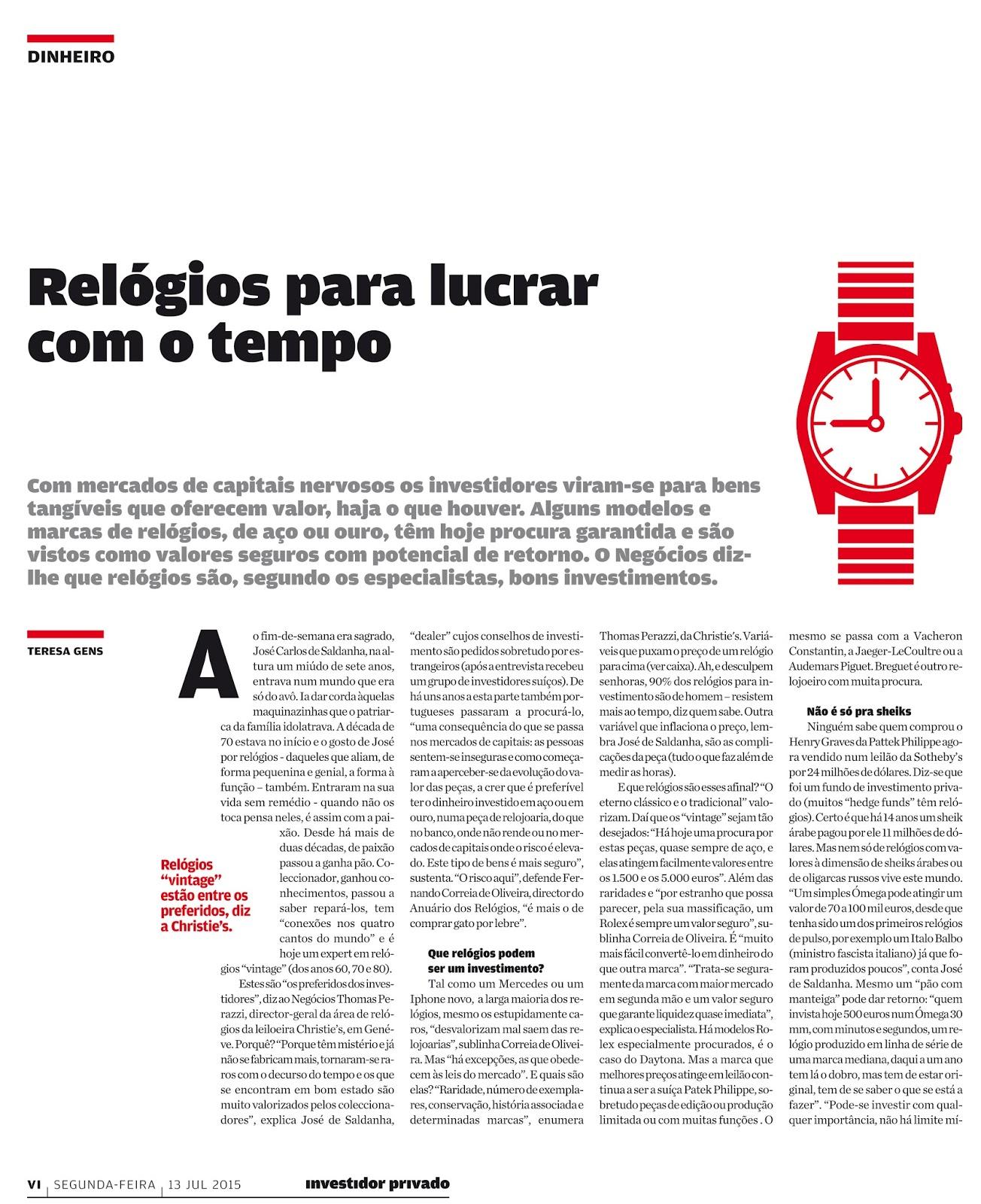 6b85bca3777 Investimento em relógios - artigo no Jornal de Negócios e a nossa opinião