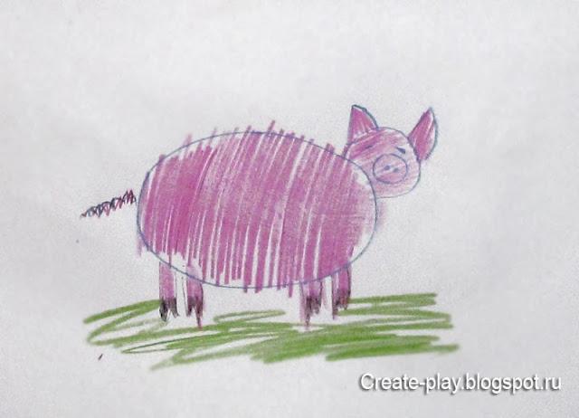 детский рисунок свинья