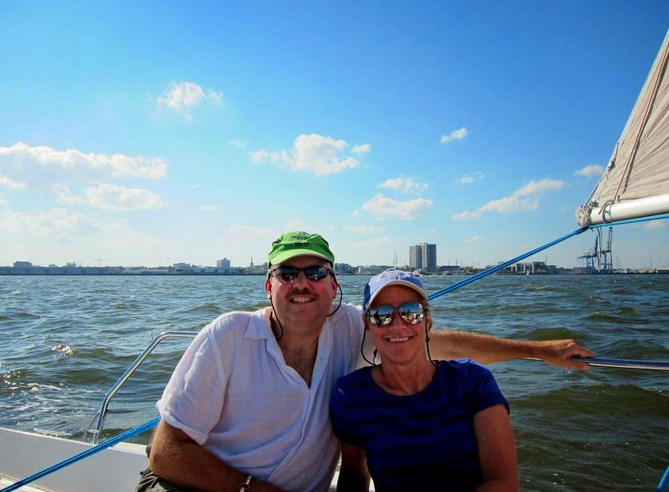 Lynne and Matt sailing in Charleston harbor