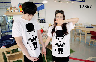grosir kaos couple charlie chaplin