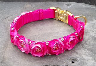 Pink Roses and Bling Dog Collar