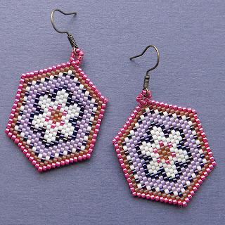 Купить яркие бисерные из бисера серьги с цветочным орнаментом  украина